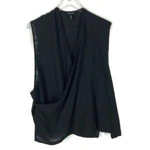 Eskander | Black Cotton Wrap Top